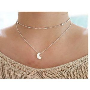 Layered Moon Choker Necklace (Silver)